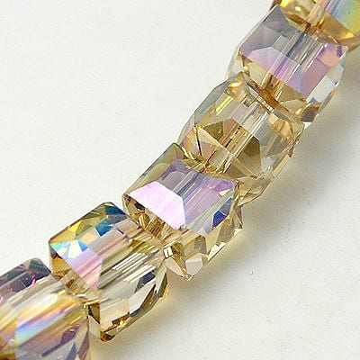 'AB' Rainbow Light Topaz Square Electro Plated Glass Bead - (8mm 2