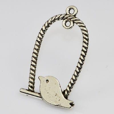1 Stylish Silver High Quality Birdie Pendant (33mmx17mm) - M21 18