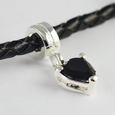 Black Heart Metal European Style Charm Bead - G1 17