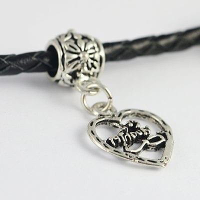 Classic Heart Antique Silver Metal European Charm Bead - C1 18