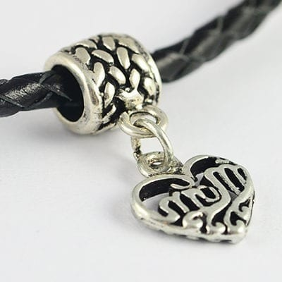 Antique Silver Heart Shape European Style Metal Charm Bead - G1 11
