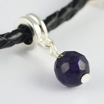 Amethyst Czech Round Gemstone Charm Metal European Bead - G1 7