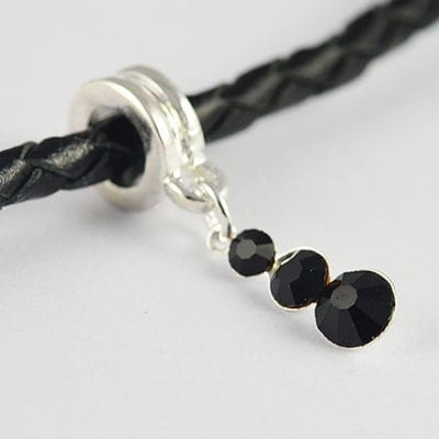 Black Crystal Big Hole Metal European Style Charm Bead - C1 15