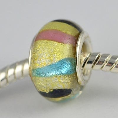 Gold Designer Choice Gold Foil Glass European Round Bead - E1 10