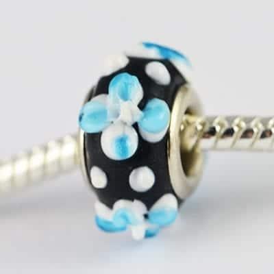Designer Black Lampwork Glass European Bead - S1 6