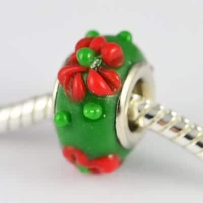 Designer Dark Green Lampwork Glass European Bead - S1 10