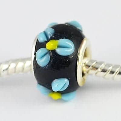 Elegant Black Floral Lamp Work Glass European Bead - S1 20