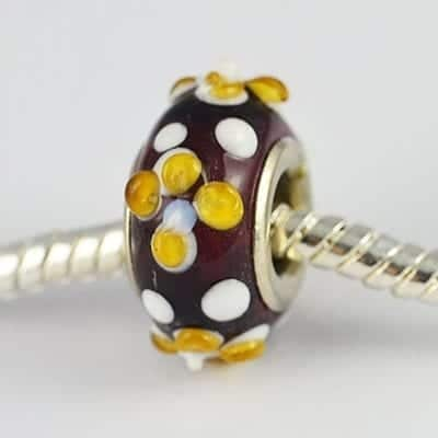 Designer Topaz Lampwork Glass European Bead - S1 15