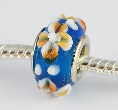 Designer Turquoise Lampwork Glass European Bead - S1 17