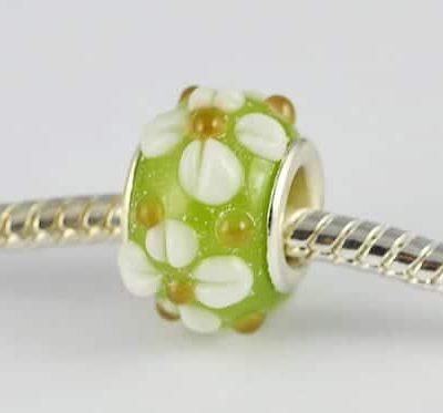Designer Light Green Lampwork Glass European Bead - S1 13