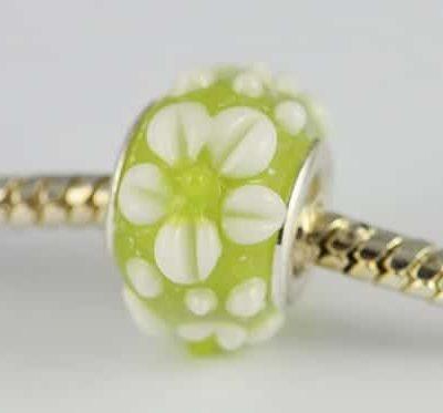 Designer Light Green Lampwork Glass European Bead - S1 14
