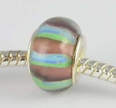 Amethyst & Turquoise Stripes Design European Glass Bead - E1 2