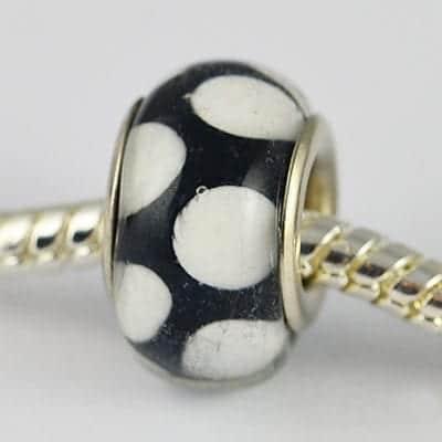 Black Polka Dots Design European Glass Round Bead - R1 9