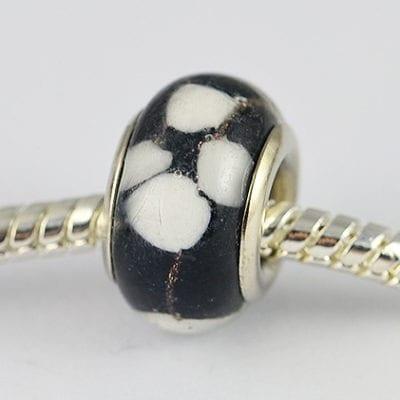Black Dog Paw Design European Glass Round Bead - R1 8