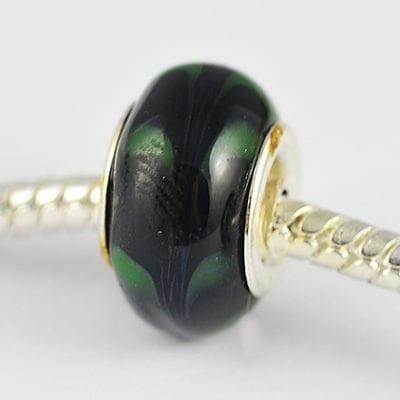 Black & Green Design European Glass Round Bead - R1 4