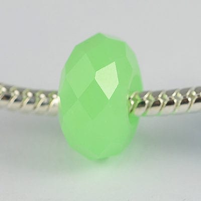 Chinese Green Round Faceted European Style Glass Bead 14mm - M1 3