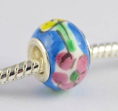 Blue Floral Design European Style Round Terracotta Bead - M1 1