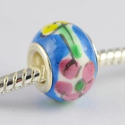 Blue Floral Design European Style Round Terracotta Bead - M1 2