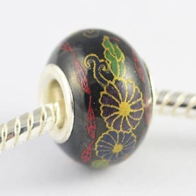 Black Floral Design European Style Round Terracotta Bead - M1 4