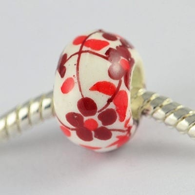 Red Flowers European Style Round Terracotta Bead - M1 2