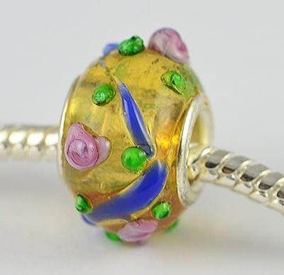 Bright Light Gold Lamp Work Glass European Bead - W1 4