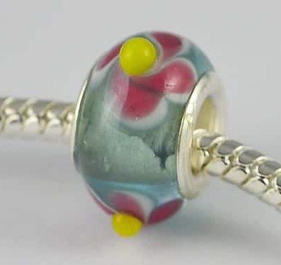 Designer Choice Light Blue Floral Lamp Work Glass Bead - W1 8