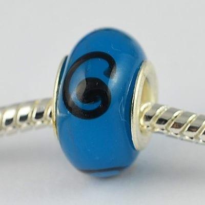 Blue & Black Design European Glass Bead - Q1 14