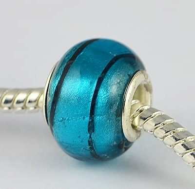 Dark Turquoise Designer Choice Silver Foil Glass Bead - A1 7
