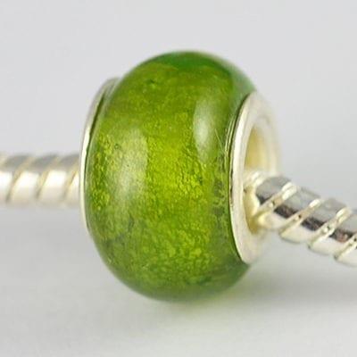 Green Designer Choice Gold Foil Glass Bead - T1 13