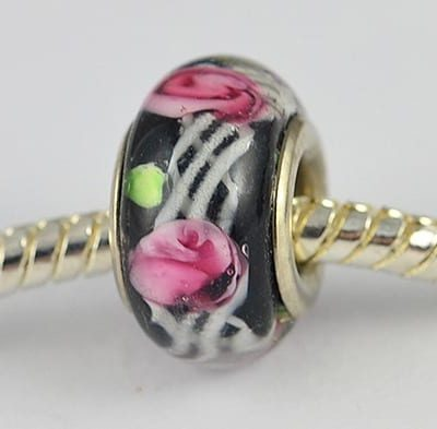 Black With Pink Flowers European Glass Round Bead - R1 11