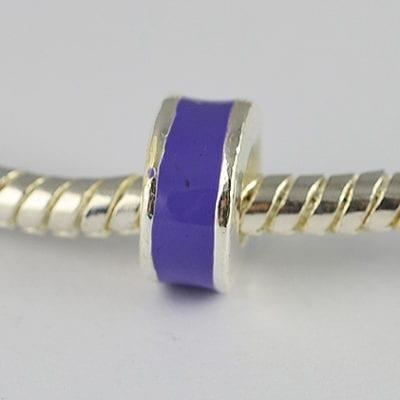 1 Purple Enamel Painted European Style Metal Round Bead - K1 3