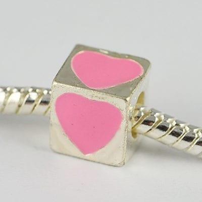 Square Pink Heart Engraved European Style Metal Bead - K1 15
