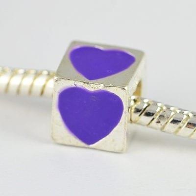 Square Purple Heart Engraved European Style Metal Bead - K1 16