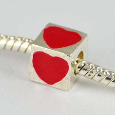 Square Red Heart Engraved European Style Metal Bead - K1 17