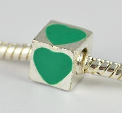Square Green Heart Engraved European Style Metal Bead - K1 1