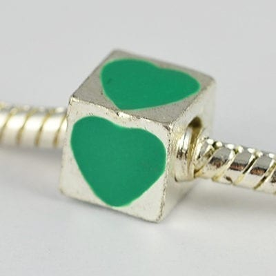 Square Green Heart Engraved European Style Metal Bead - K1 14
