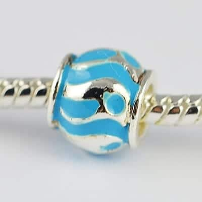 1 Turquoise Enamel Painted European Style Metal Bead - K1 5