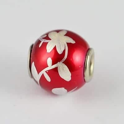 Hand Painted Red Silver Floral Design Metal Round Bead - K1 12