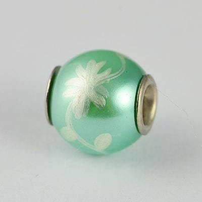 Hand Painted Turquoise Silver Floral Design Metal Bead - K1 13