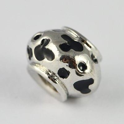 Dotted Black Enamel Painted European Style Metal Bead - K1 6