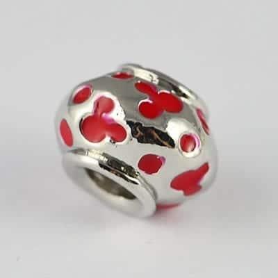 Dotted Red Enamel Painted European Style Metal Bead - K1 9