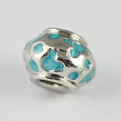 Dotted Turquoise Enamel European Style Metal Bead - K1 10