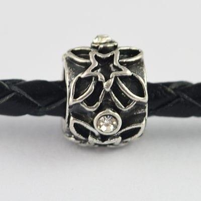 Clear Rhinestones Studded European Metal Black Round Bead - N1 5