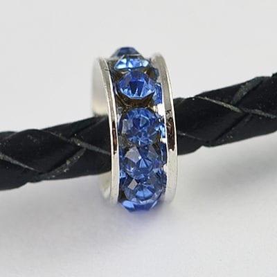 European Style Light Blue Crystal Studded Metal Bead - N1 15
