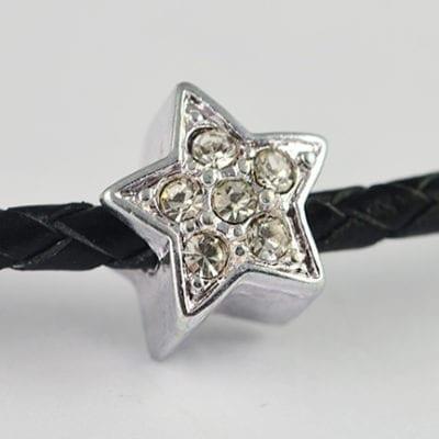 European Style Clear Crystal Studded Star Metal Bead - N1 13