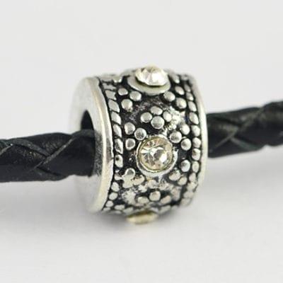European Style Clear Crystal Studded Metal Bead - N1 11