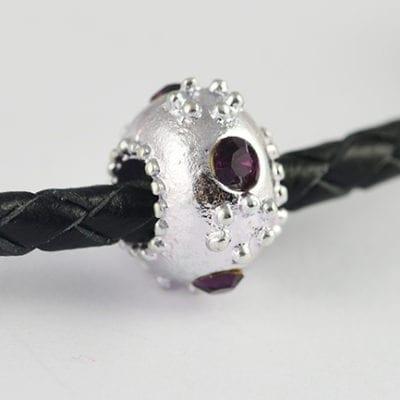 European Style Amethyst Floral Crystal Studded Metal Bead - N1 9