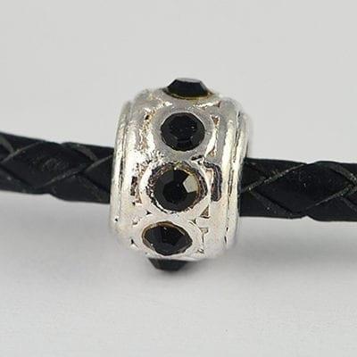 European Style Jet Black Crystal Studded Metal Bead - N1 14