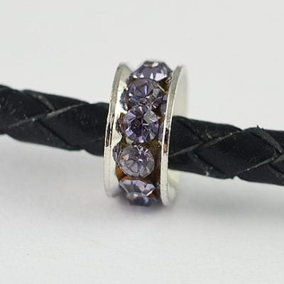 European Style Light Purple Crystal Studded Metal Bead - N1 17