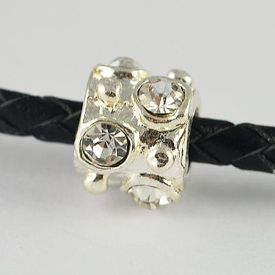 Clear Crystal Studded European Style Metal Round Bead - N1 2